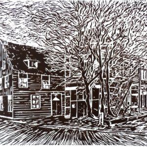 De Waakzaamheid met woonhuis, Koog aan de Zaan - Joost van der Krogt - linosnede - Zaansgroen