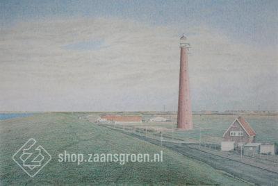 FR0037-Huisduinen-fort-kijkduin-vuurtoren-zeefdruk-te-koop-zaansgroen