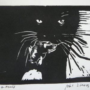 Kat en muis - Joost van der Krogt - Linosnede - te koop - Zaansgroen