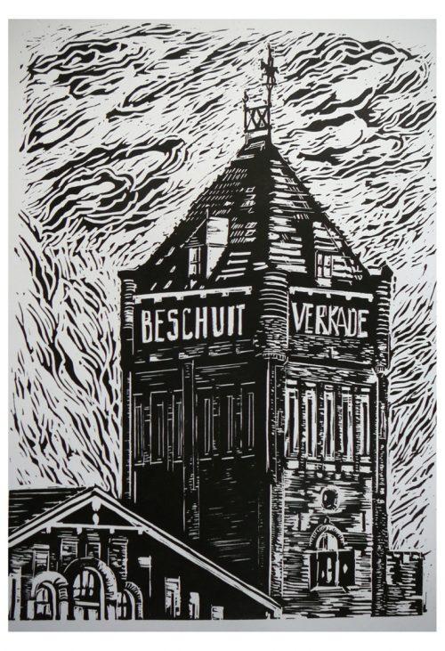Linosnede Verkadetoren in Zaandam - Joost van der Krogt - Zaansgroen - Zaandam