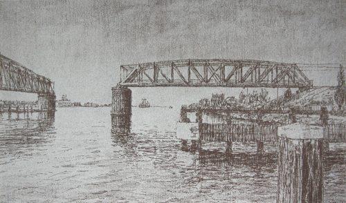hembrug spoorbrug over het Noordzeekanaal - Frans Rooom