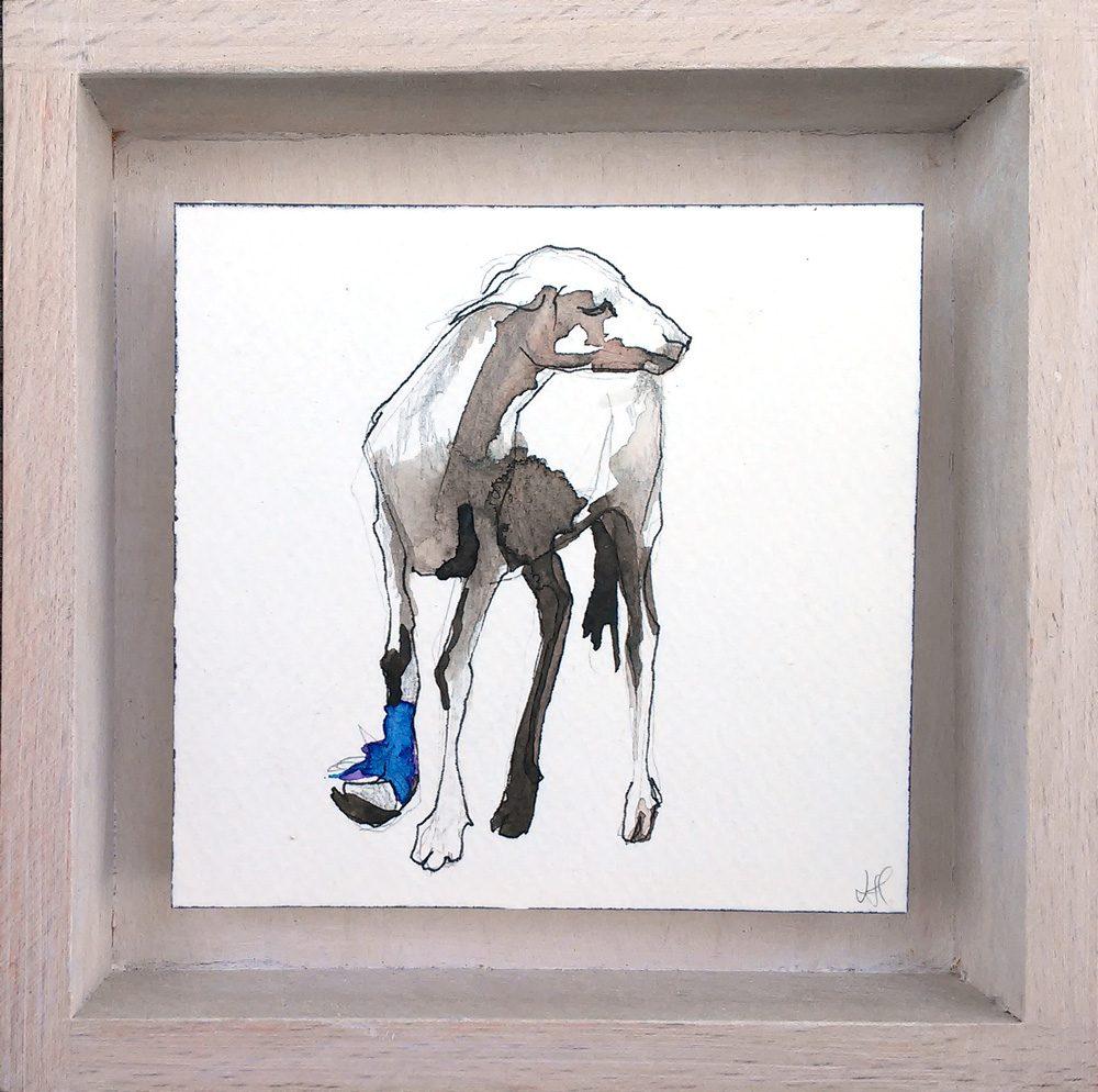 afrikaanse geit - Laura Hoek - tekening - acrylinkt op papier - www.kunstwerken.shop