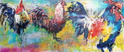 De drie hanen' van Tino Lintelo - te koop bij Zaansgroen - www.kunstwerken.shop