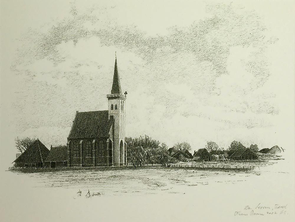 Hervormde kerk Den Hoorn - Texel - frans room - zeedruk te koop