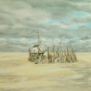 drenkelingenhuisje-vluchthuis-vliehorn - frans room - zeefdruk