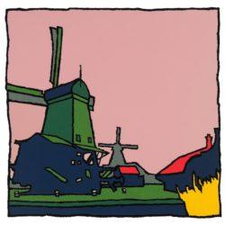 Zaanse Schans molens Zaandam - zeefdruk Wim van Willegen