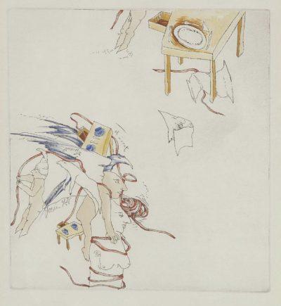 Josien Brenneker - Ets met kabouter - Ets en kleurpotlood op papier - gesigneerd