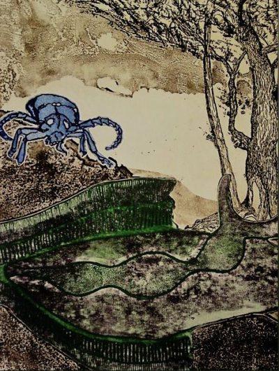 Theo van d en Akker - Zaans Surrealistist - Worm des tijds gesigneerd