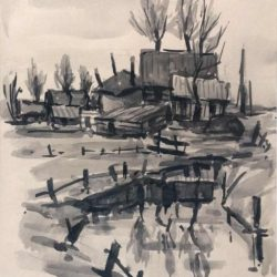 wil-van-dither-pentekening-boerderijen bij muiderberg