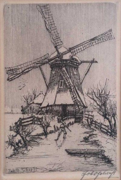johan-d-scherft molen in winterlandschap