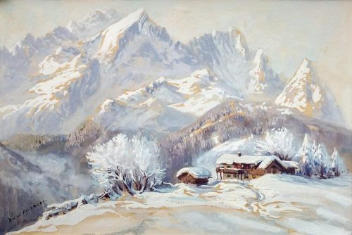 Dirk Filarski Bergense School aquarel Zwitserland 1916-1917
