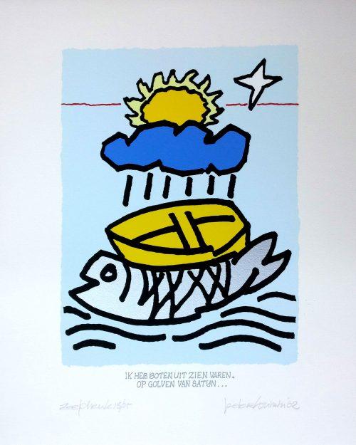 20171-boten-varen-op-golven-van-satijn peter louman zeefdruk