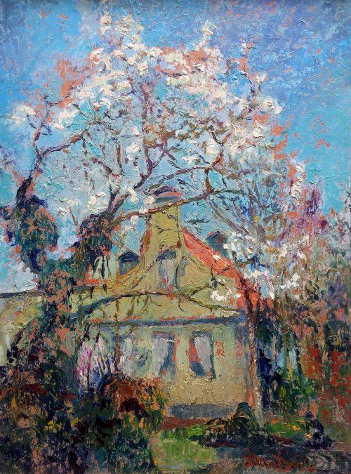 20725 Willem Jansen - olieverf huis met bloesemboom Westzaan